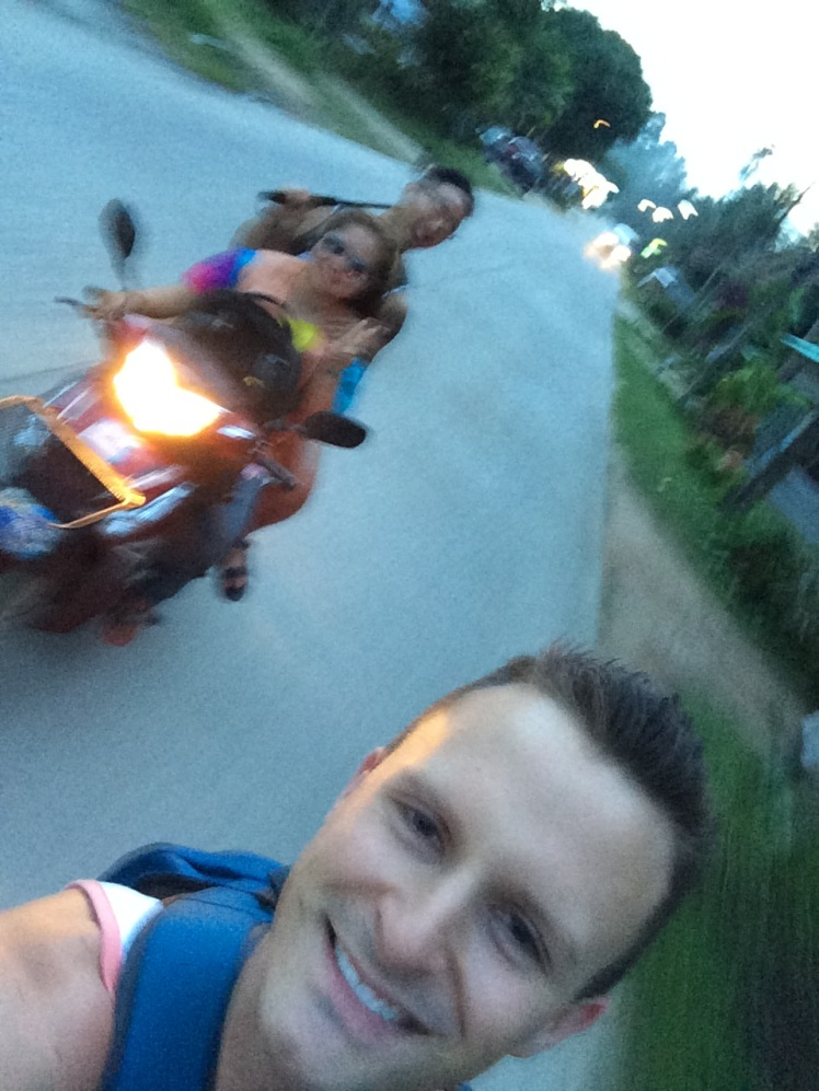 When we arrived to Koh Phangan we each jumped on a motorbike taxi to our hostel.