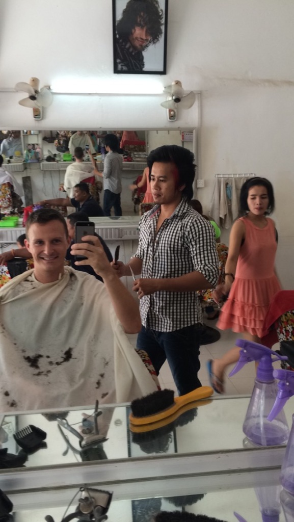 First haircut in Cambodia