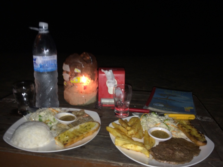 Delicious Baracuda and Beef BBQ on the beach