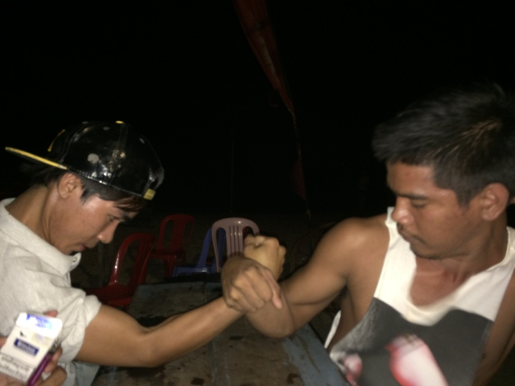 Lyly and Ruth arm wrestling