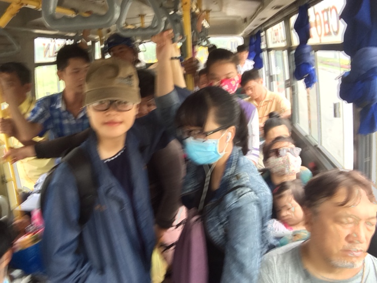 I was on a local bus. People were sitting in the aisle on luggage, small plastic chairs and upside down buckets. i paid 90 cents for a 1 hour ride to the next town