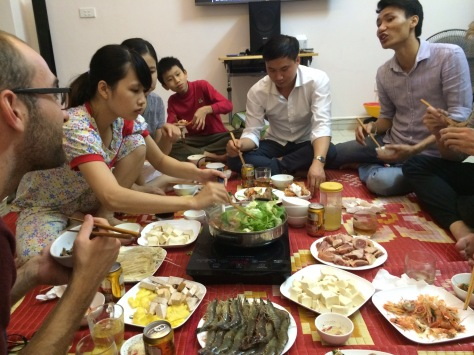 She cooked all the food in what they call a hot pot dinner